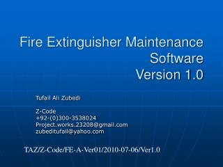 Fire Extinguisher Maintenance Software  Version 1.0