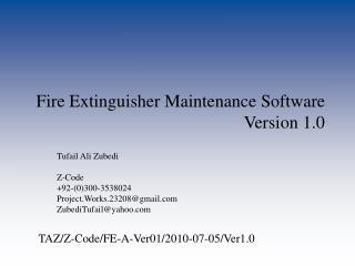 Fire Extinguisher Maintenance Software  Version 1.0