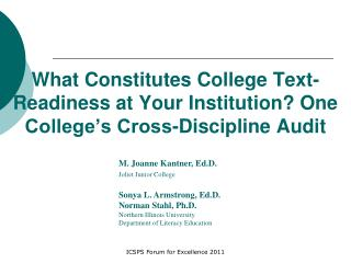 What Constitutes College Text-Readiness at Your Institution? One College's Cross-Discipline Audit