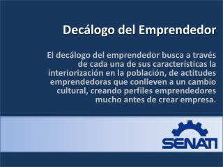 Decálogo del Emprendedor