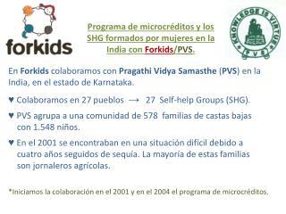 Programa de microcr�ditos y los SHG formados por mujeres en la India con  Forkids / PVS .