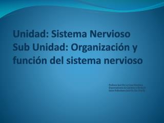 Unidad: Sistema Nervioso Sub Unidad: Organización y función del sistema nervioso
