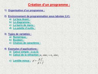 Cr�ation d�un programme�: