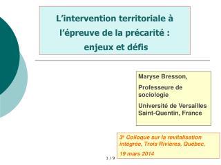 L'intervention territoriale à l'épreuve de la précarité :  enjeux et défis