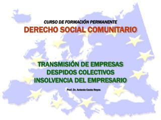 CURSO DE FORMACI�N PERMANENTE DERECHO SOCIAL COMUNITARIO