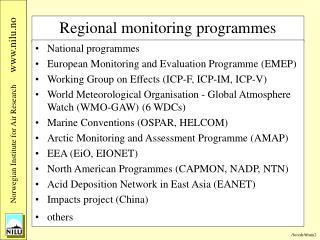 Regional monitoring programmes