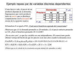 Ejemplo repaso par de variables discretas dependientes