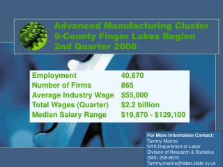 Advanced Manufacturing Cluster 9-County Finger Lakes Region 2nd Quarter 2006