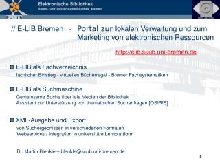 E-LIB als Fachverzeichnis fachlicher Einstieg - virtuelles Bücherregal - Bremer Fachsystematiken