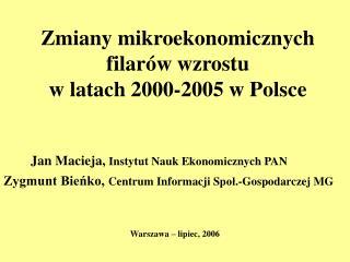 Zmiany mikroekonomicznych filarów wzrostu  w latach 2000-2005 w Polsce