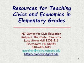 Resources for Teaching Civics and Economics in Elementary Grades