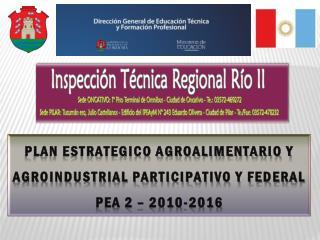 PLAN ESTRATEGICO AGROALIMENTARIO Y AGROINDUSTRIAL PARTICIPATIVO Y FEDERAL  PEA 2 – 2010-2016