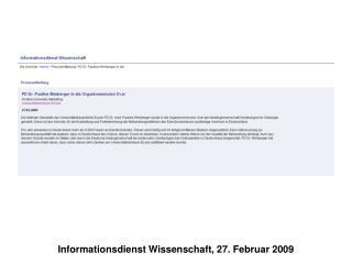 Informationsdienst Wissenschaft, 27. Februar 2009