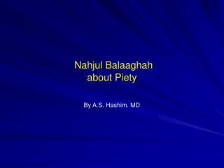 Nahjul Balaaghah about Piety