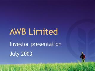 Investor presentation July 2003