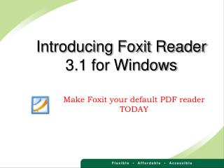 Introducing Foxit Reader 3.1 for Windows