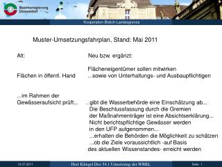 Muster-Umsetzungsfahrplan, Stand: Mai 2011