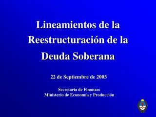 Lineamientos de la Reestructuración de la Deuda Soberana