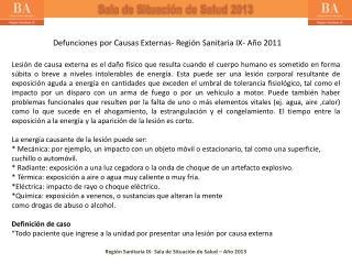 Defunciones por Causas Externas- Región Sanitaria IX- Año 2011