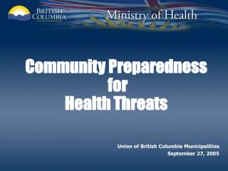 Community Preparedness  for  Health Threats