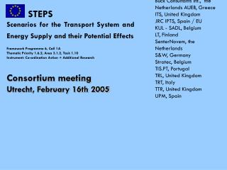 STEPS Scenarios for the Transport System and Energy Supply and their Potential Effects