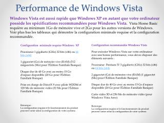 Performance de Windows Vista