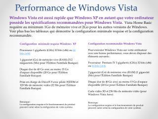 Performance de Windows Vista