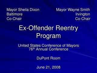Ex-Offender Reentry Program