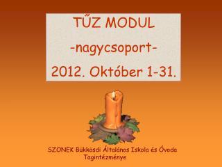 TŰZ MODUL -nagycsoport- 2012. Október 1-31.