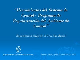 �Herramientas del Sistema de Control - Programa de Regularizaci�n del Ambiente de Control�