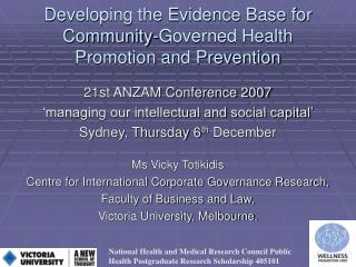 Developing the Evidence Base for Community-Governed Health Promotion and Prevention
