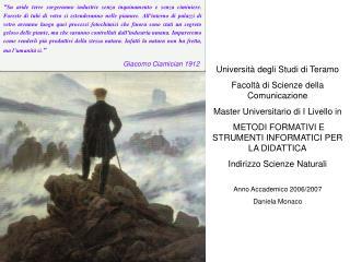 Università degli Studi di Teramo Facoltà di Scienze della Comunicazione
