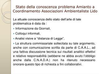 Stato della conoscenza problema Amianto a Coordinamento Associazioni Ambientaliste Lido