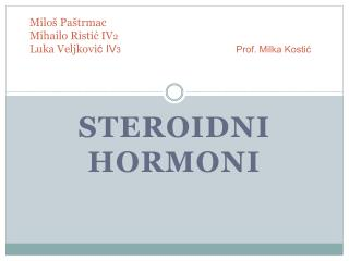 STEROIDNI  HORMONi