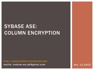 Sybase ASE:   column encryption