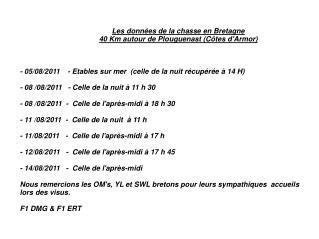Les données de la chasse en Bretagne  40 Km autour de Plouguenast (Côtes d'Armor)