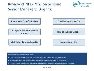 Review of NHS Pension Scheme  Senior Managers� Briefing