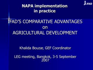 NAPA implementation in practice