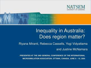Inequality in Australia:  Does region matter?