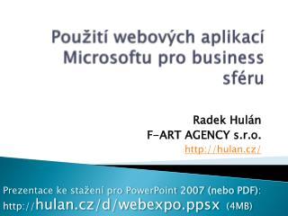Použití webových aplikací  Microsoftu  pro business sféru