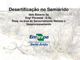 Desertificação no Semiárido Iêdo Bezerra Sá Engº Florestal - D.Sc.