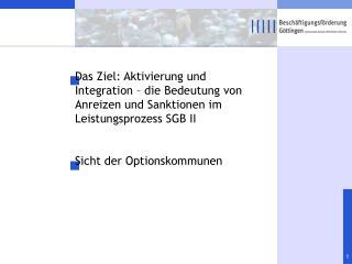 Aktivierung und Integration � die Bedeutung von Anreizen und Sanktionen im Leistungsprozess SGB II