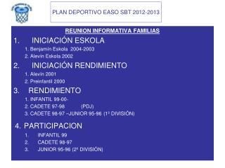 REUNION INFORMATIVA FAMILIAS INICIACIÓN ESKOLA 1. Benjamín Eskola  2004-2003