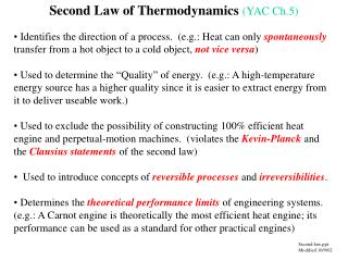 Second Law of Thermodynamics YAC Ch.5