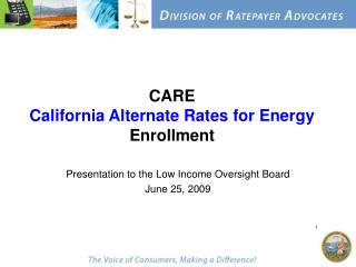 CARE California Alternate Rates for Energy Enrollment