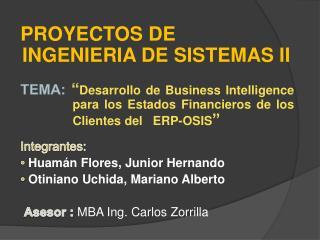 PROYECTOS DE INGENIERIA DE SISTEMAS II
