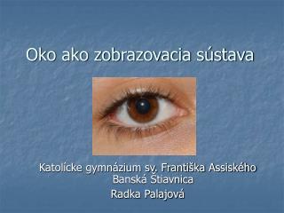 Oko ako zobrazovacia sústava