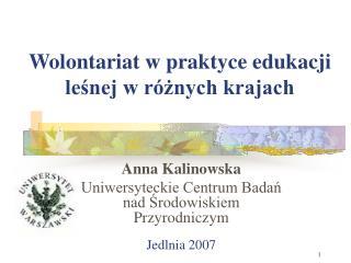 Wolontariat w praktyce edukacji leśnej w różnych krajach