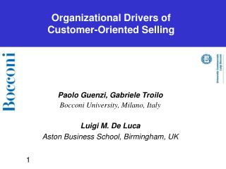 Organizational Drivers of  Customer-Oriented Selling