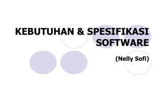 KEBUTUHAN & SPESIFIKASI SOFTWARE